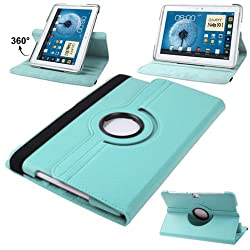 2010kharido 360 Rotating PU Leather Stand Case Cover For Samsung Galaxy Note 10.1 P600 2014 Edition Light Blue