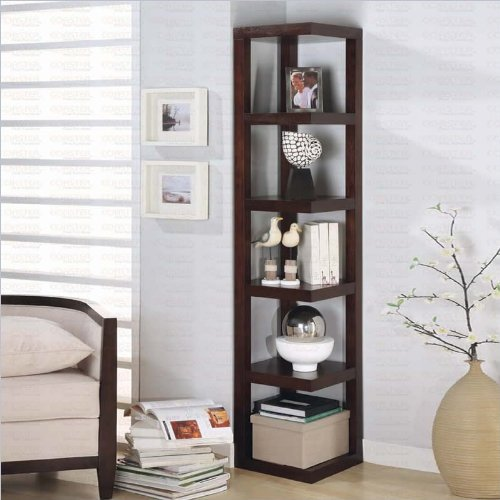 Corner Bookcase Contemporary Style in Cappuccino Finish