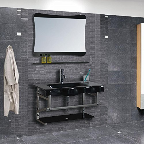 Mobile bagno vetro completo di lavabo specchio l80
