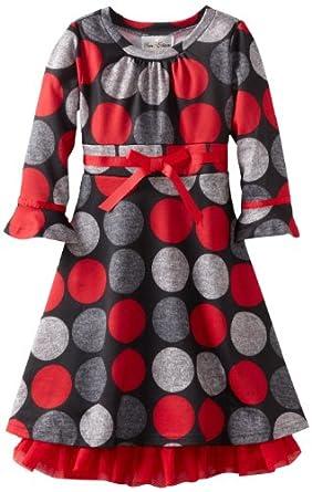 Rare Editions Big Girls' Dot Fuzzy Knit Dress, Red/Black/Grey, 10