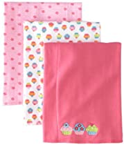 Gerber Baby-Girls  3 Pack Knit Burpcloths Cupcake, Pink, Standard (One Size)