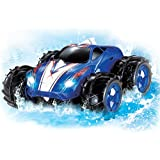 Powerful Amphibious Remote Control Car, Drives on Land & Water, 200 Ft. Control Range, 360 Degree Spins, LED Headlights - Blue