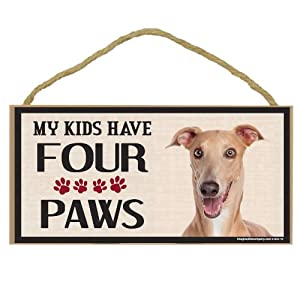 Imagine This Wood Breed Four Paws Sign, Italian Greyhound