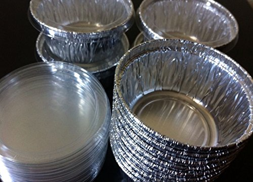 100 Aluminum Foil Muffin Cupcake Ramekin 4oz Cups with Lids Disposable