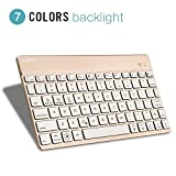 Bluetooth Wireless Keyboard, Collen 7 Colors Backlight Ultra-Thin Tablet Keyboard for iPad Pro, iPad Air, iPad 2/3/4, Galaxy Tab, Mac, and Any Bluetooth Enabled Device (Gold)