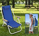 Aluminium Frame Backpack Outdoor Chair - Large Storage Pouch, 4 Position Seat, Cushioned Headrest, Drinks Holder - Perfect for Camping, Fishing, Picnics, Beach, Festivals, Watching Sports
