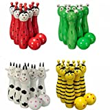Generic Balls Wooden Animal Bowling Ball Children Toys Gift Toys Bowling Ball Game Toys Color Random