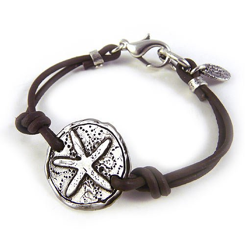 Dive Into Your Dreams - Leather and Sterling Silver Plate Starfish Bracelet, 7.25