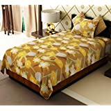 Home Candy Floral Cotton Single Bed Sheet With 1 Pillow Cover - Yellow