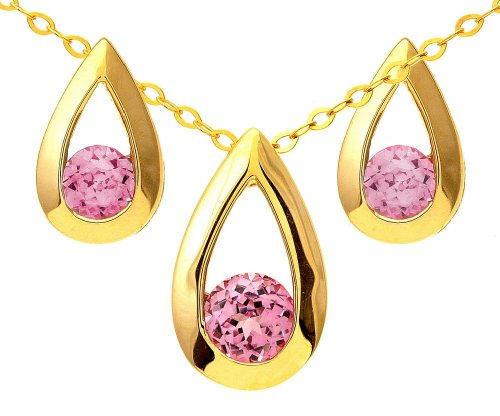 9ct Yellow Gold 0.50ct Created Pink Sapphire Teardrop Earrings and Pendant Set