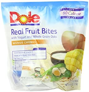 Dole Real Fruit Bites, Mango, 6 Count Pouches (Pack of 8)