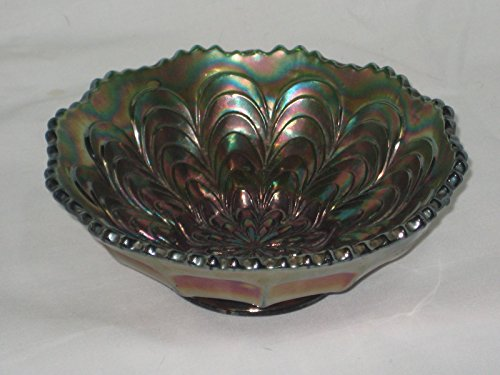 Vintage Carnival Peacock Crimped 5 1/2 x 2 1/4 Inch Candy Dish Vintage Carnival Glass