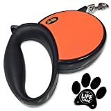 Retractable Leash for Dogs Or Cats Up To 45LBs by GoPets [70% OFF MSRP This Week ONLY New Year Sale] | Great For Small And Medium Breeds | Also Includes Unconditional Lifetime Satisfaction Guarantee | Best Professional Tangle Free Design With Stainless Steel Hook | Extendable Up To 13FT With Single Push-to-Lock Button
