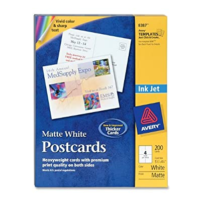 Avery Postcards for Inkjet Printers, Matte, 5.5 x 4.25 Inches, White, Box of 200 (08387)