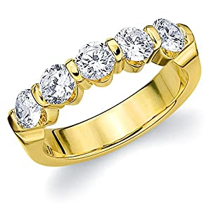 14K Yellow Gold Diamond Bar Set Wedding Band (1.5 cttw, F-G Color, VS1-VS2 Clarity) Size 11