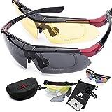 KOOKYE UV400 紫外線 99.9% カット フリーサイズ スポーツサングラス 交換レンズ5枚付き(偏光レンズ2枚)昼夜対応 気分に合わせてレンズ交換を楽しめる (ブラック/レッド)