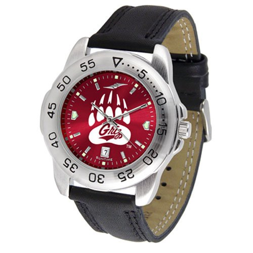 Suntime Montana Grizzlies Ncaa Anochrome Sport Mens Watch Leather Band