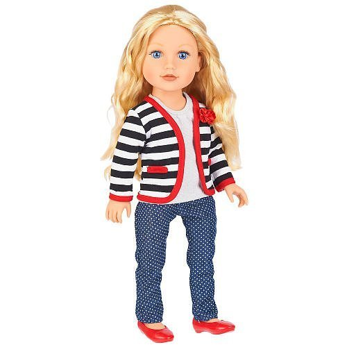 Journey Girls 18 Doll - Meredith(Black-and-White Striped Cardigan/Polka-Dot Pants) by Journey Girls