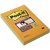 Post-it 46453SSA Haftnotiz Super Sticky Notes, 101 x 152 mm, 3 Blöcke à 45 Blatt, neonorange, -grün, ultrablau - in weiteren Größen verfügbar
