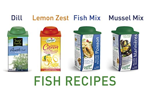 Daregal Fresh Frozen Chopped Herbs for Fish: Dill, Fish Mix, Mussel Mix - 1.76 Oz., Lemon Zest - 2.47 Oz.,