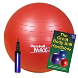 Red GymBall MAX Exercise Ball 55cm With Pump & Exercise Bookby GymBall MAX