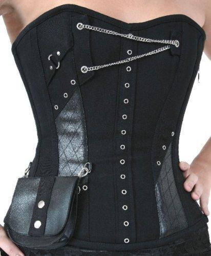 Vollbrustkorsett con tasca e Catene ON1020 - cotone, Nero, 100% cotone\n 100% cotone, Donna, XXXXL