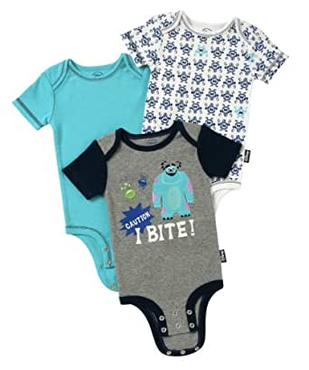 "Disney Cuddly Bodysuit -  Fashion 3 Pack:  Disney / Pixar MONSTERS, INC. ""I Bite""!, Heather/Blue/White, 6-9 Months"