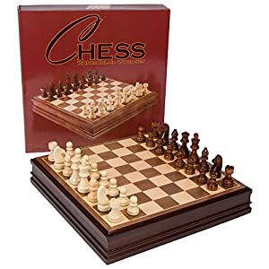 Catherine Chess Inlaid Wood Board Game with Wooden Pieces - 15 Inch Set