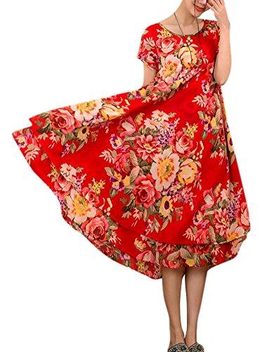 Allbebe Women's Summer Folk Style Short Sleeved Linen Long Cotton Layered Dress,Red - One Size