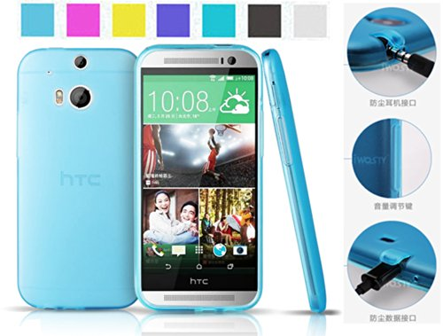 Koppu@ Htc One 2 M8 All New One Case (Inbuilt Dust Plug For Earphone Jack And Charging Port) Slim Fit Semitransparent Tpu Frosted Soft Phone Cover Case (Sky Blue)