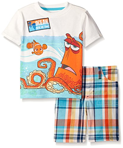 Disney Boys 2 Piece Finding Dory Need A Hand Plaid Short Set