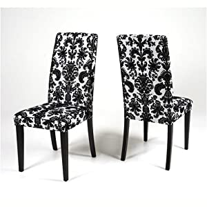 Pair of fabric dining chairs black white flower fabric for Black and white fabric dining chairs