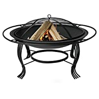 Uniflame 34.6 in. Round Wood Burning Fire Bowl with Outer Ring