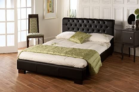 Limelight Widder in schwarz Leder Bett 4 ft 6 (Doppel)