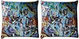 Snoogg Colorful Graffiti Street Paint Pack Of 2 Digitally Printed Cushion Cover Pillows 14 X 14 Inch