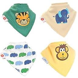 Zippy Fun Baby Bandana Drool Bibs (4 Pack Gift Set) Animal Fun