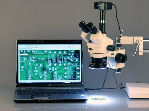 AmScope 3.5X-90X Zoom Magnification Stereo Microscope on Boom Stand + 144 LED Light + 5MP USB Digital Camera