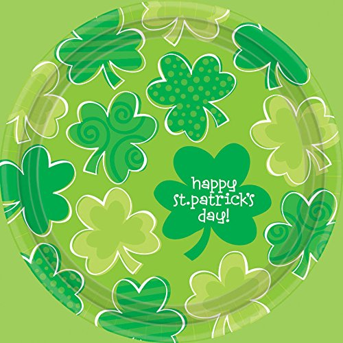 Amscan Playful Shamrocks 7 Round Plates - 1
