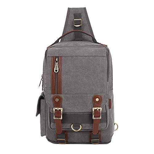 KAUKKO-Canvas-Leather-Cross-body-Messenger-Bag-One-Strap-Sling-Travel-Hiking-Chest-Bag