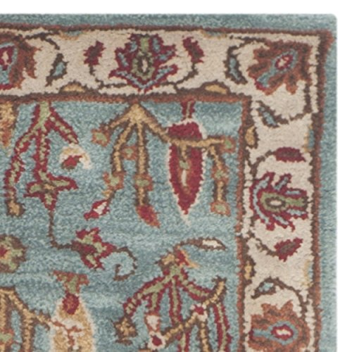 Safavieh Heritage Collection HG735A Handmade Blue and Ivory Wool Area Runner, 2 feet 3 inches by 8 feet (2'3