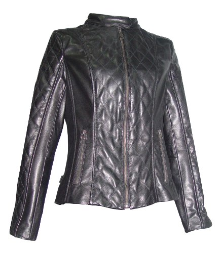 Nettailor Women PLUS SIZE 4060 Lamb Leather Quilted Moto Jacket