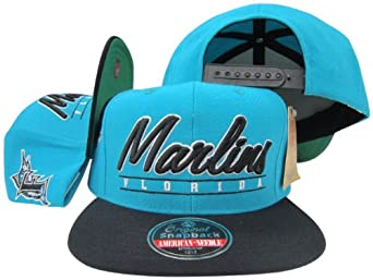 Florida Marlins Black Teal Snapback Adjustable Plastic Snap Back Hat Cap by American Needle