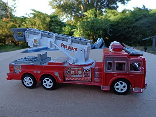 "Fire & Rescue Ladder Truck with Rescue Ladder 6 Wheels 7"" Long 2"" Wide 2.5"" Tall Fully Detailed & Free Shipping"