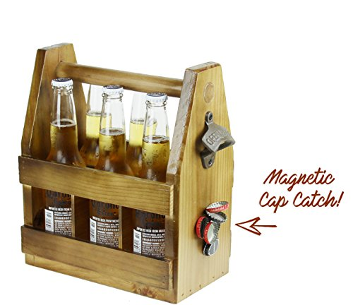 Teikis Wooden Beer Carrier with Bottle Opener and Magnetic Cap Catch (Wooden Bottle Opener Magnetic compare prices)
