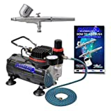 Airbrush Depot Brand High Performance Multi-purpose Gravity Feed Dual-action Airbrush Kit with 6 Foot Hose and a Powerful 1/6hp Single Piston Quiet Air Compressor-The Complete Set Now Includes a (FREE) How to Airbrush Training Book to Get You Started