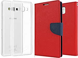 Generic Mercury Flip with Transparent Back Cover For Samsung Galaxy Ace Next G313 (Red)