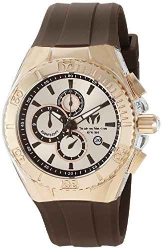 technomarine-womens-quartz-watch-with-rose-gold-dial-chronograph-display-and-brown-silicone-strap-tm