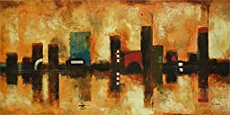 36W x 18H Skyline by Brent Foreman - Stretched Canvas w/ BRUSHSTROKES
