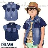 (ディラッシュ) DILASH初夏'16 ヴィンテージ風半袖デニムシャツ 130 ネイビー
