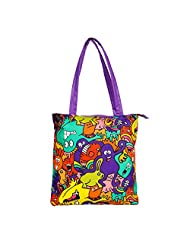 The Crazy Me Mr Doodle Monster Colourful Pattern Women's Tote Bag Multicolour - TOTE130